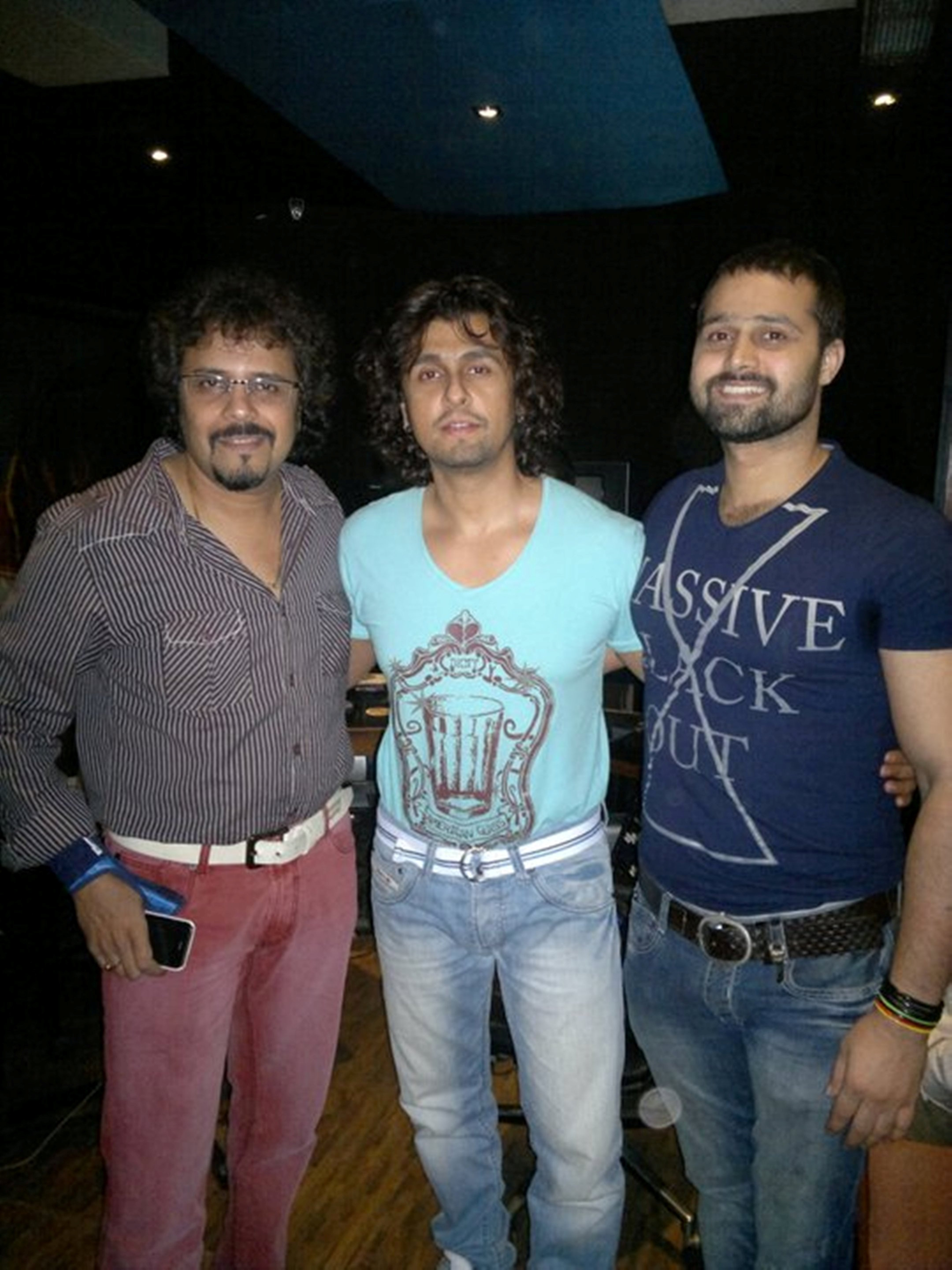 Sufi singer Mudasir Ali (right) with Bickram Ghosh and Sonu Nigam
