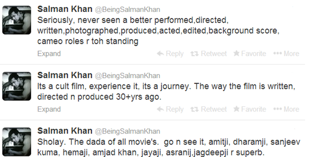 Salman Tweets for Sholay3D