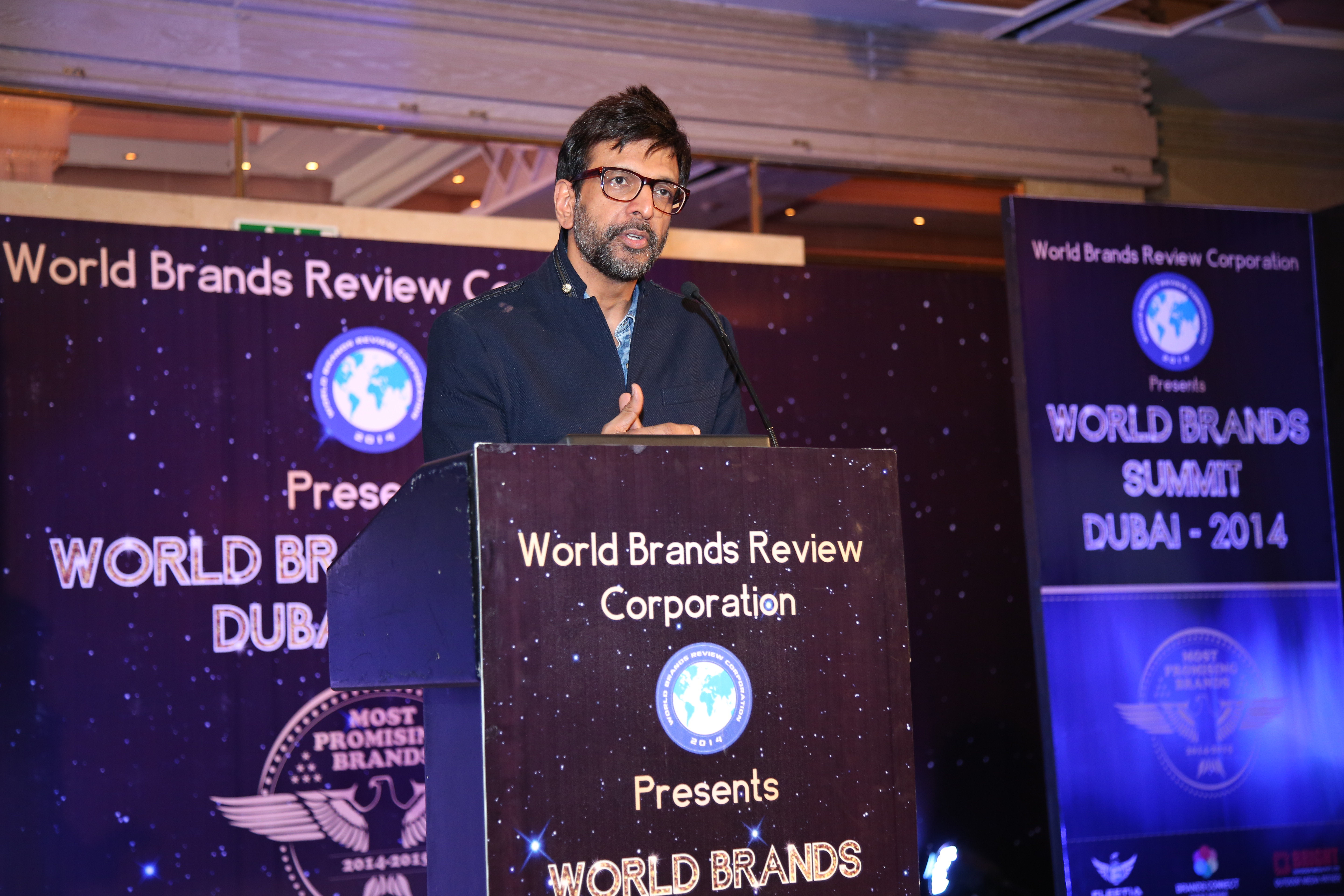 Actor-dancer Jaaved Jaaferi addresses the gathering at Asia Awards @ World Brands Summit 2014