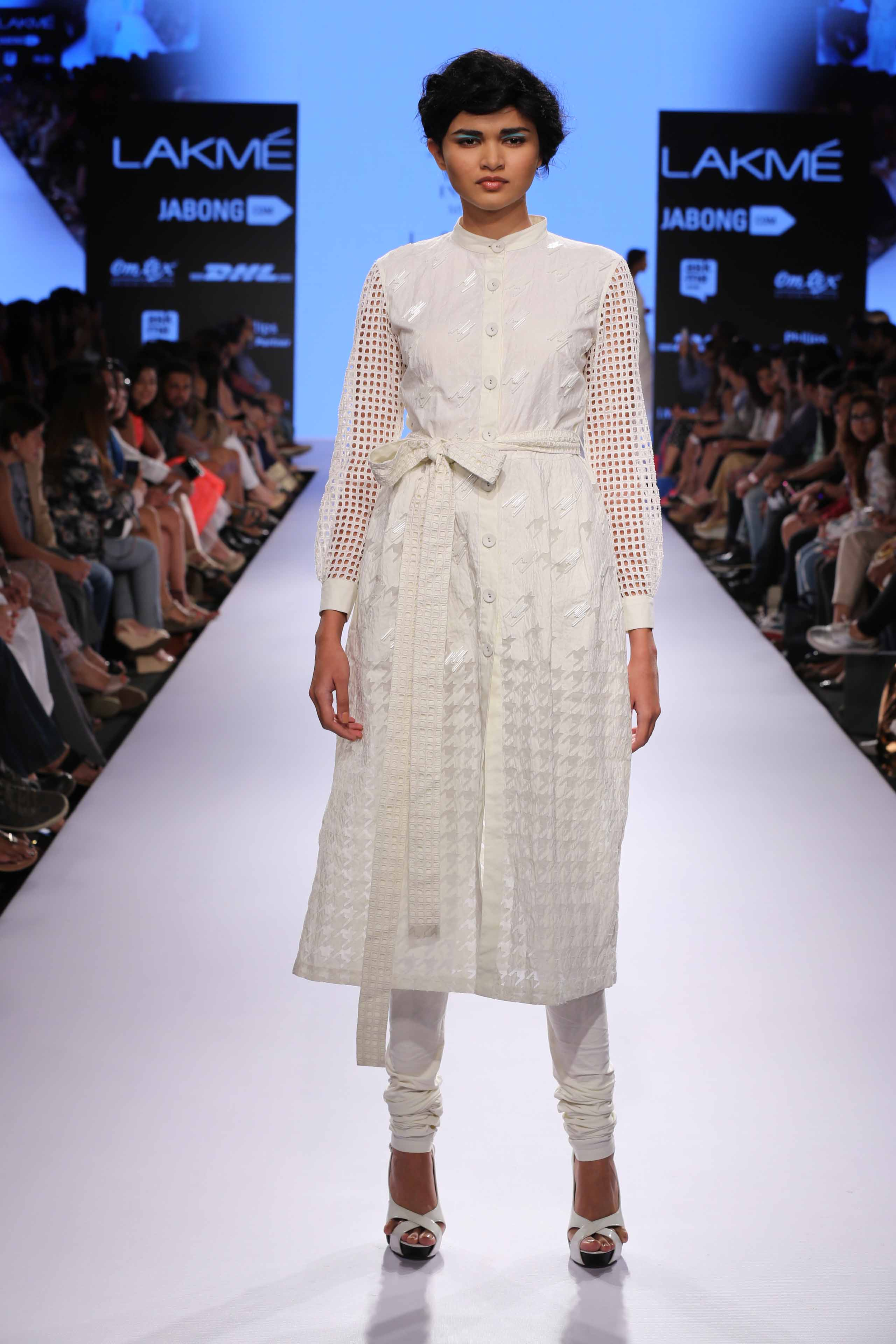 Model walks for Anand Bhushan at Lakme Fashion Week Summer Resort 2015