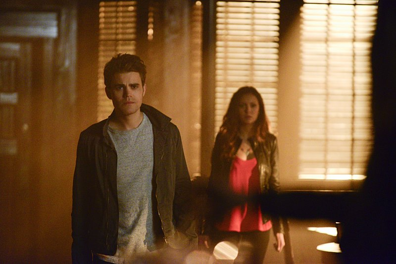 A still of Stefan and Elena from The Downward Spiral