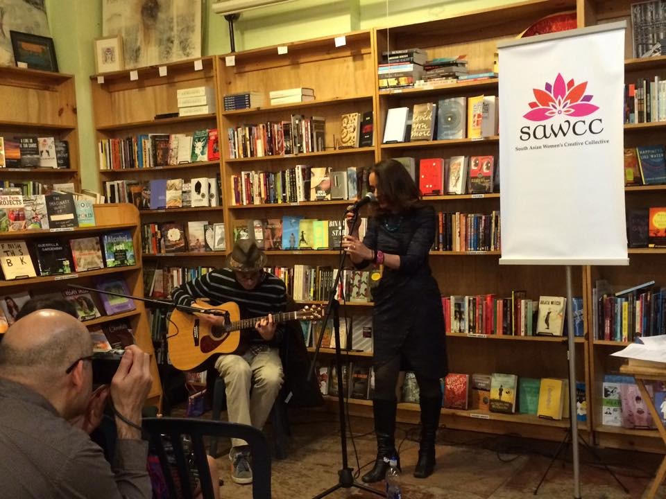 Tanuja Desai Hidier and Atom Fellows performing a song from Bombay Spleen (the accompanying book track album to Bombay Blues) at Bluestockings.