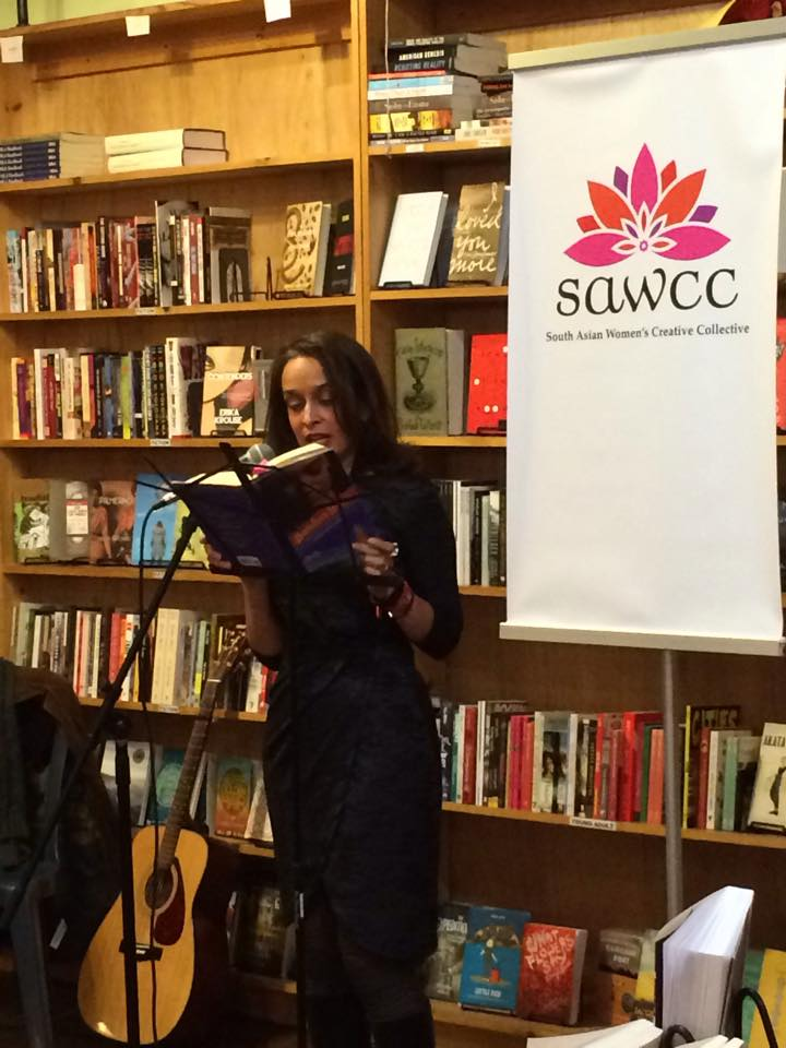 Hidier reading an excerpt from her latest novel Bombay Blues at Bluestocking. Her reading and performance with Atom Fellows was the keynote event of the festival.