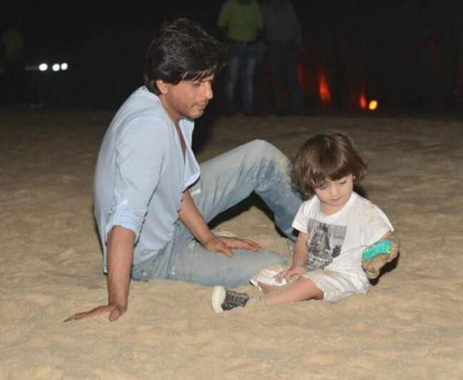 Abram and daddy Shah Rukh Khan at the beach