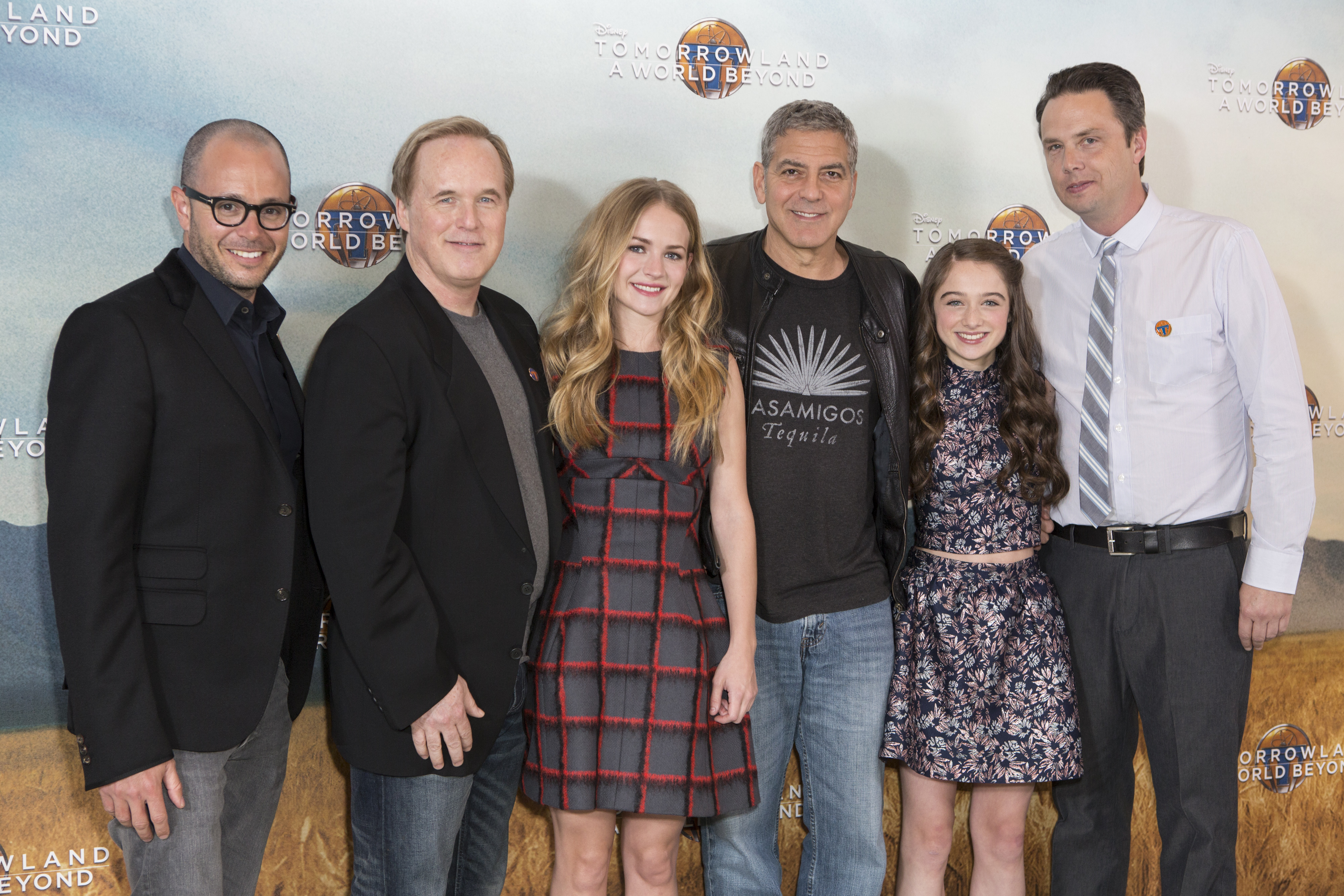 Damon Lindelof, Brad Bird, Britt Robertson, George Clooney, Raffey Cassidy and Jeff Jensen attend the European photo call of Disney?s ?Tomorrowland: A World Beyond? on May 18 in London, UK (Credit: James Gillham/ StingMedia.co.uk