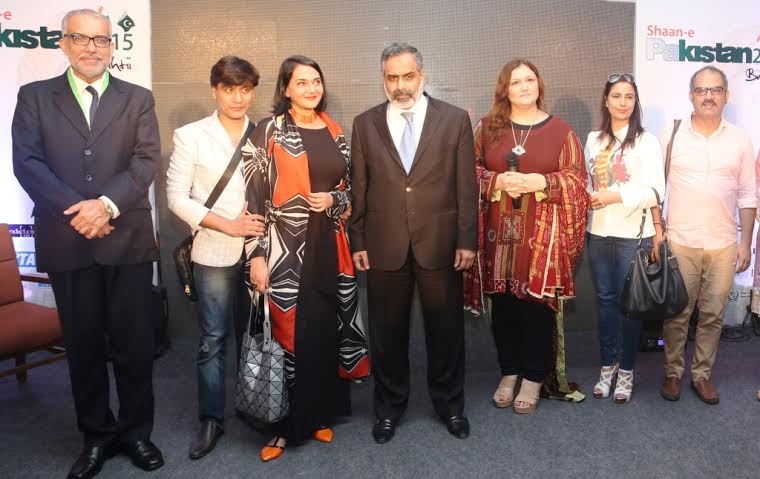 Mr. Manzoor Ali Memon Counsellor Pakistan High Commission, Indian Designer Raakesh Agarvwal, Poonam Bhagat, Muhammad Irfan Tarar Minister trade Pakistan high Commission, Huma Nassr curator Shaan e Pakistan, Indian Designer Winky Singh and Sadan Pandey