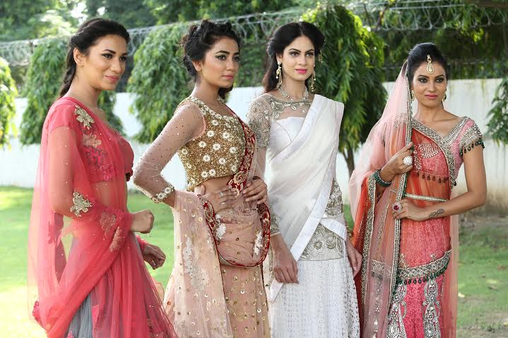 (Left to right) Khushboo Kankan in Anju Modi outfit, Tridisha Baruah in Winky Singh- Rashima Singh, Priyanka Gusain in Sadan Pande design, Karishma Shandil in Poonam Bhagat and Ishika Agnihotri in Raakesh Agarvwal designs.