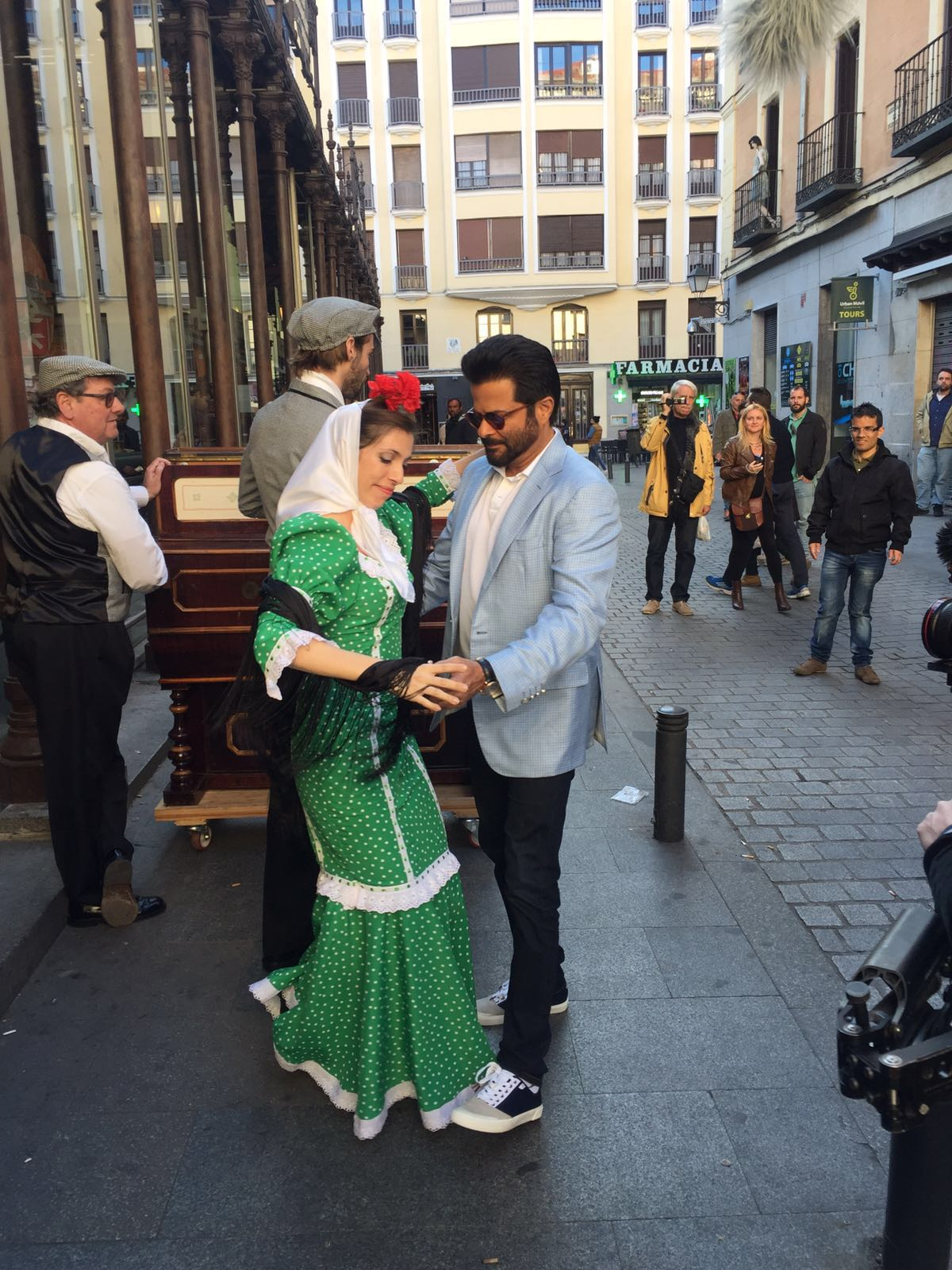 Anil Kapoor dancing in the street in Madrid before the IIFA 2016 announcement press conference