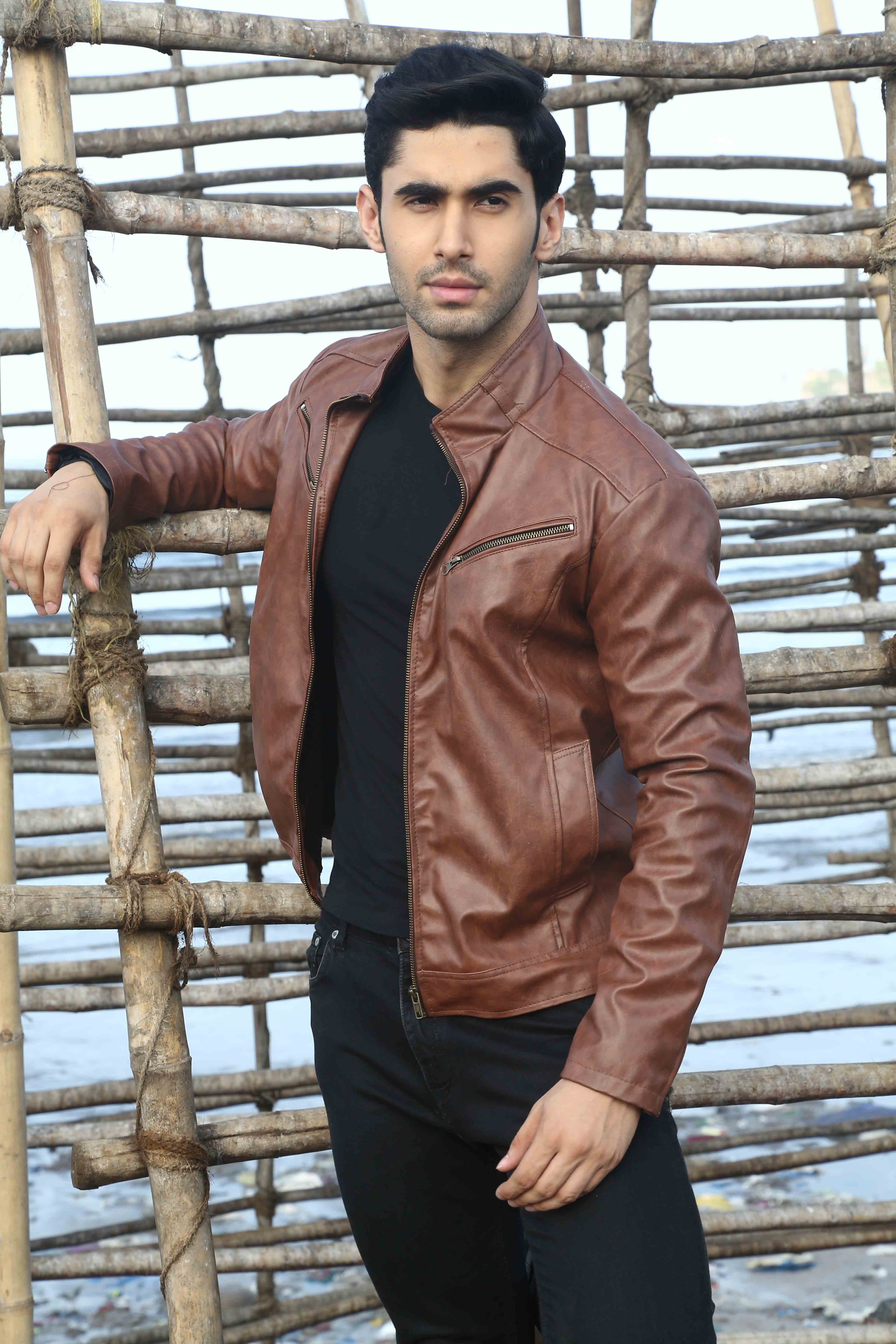 Laksh Lalwani-in brown Jacket